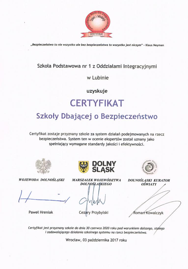 Certyfikat Szkoły Dbającej o Bezpieczeństwo
