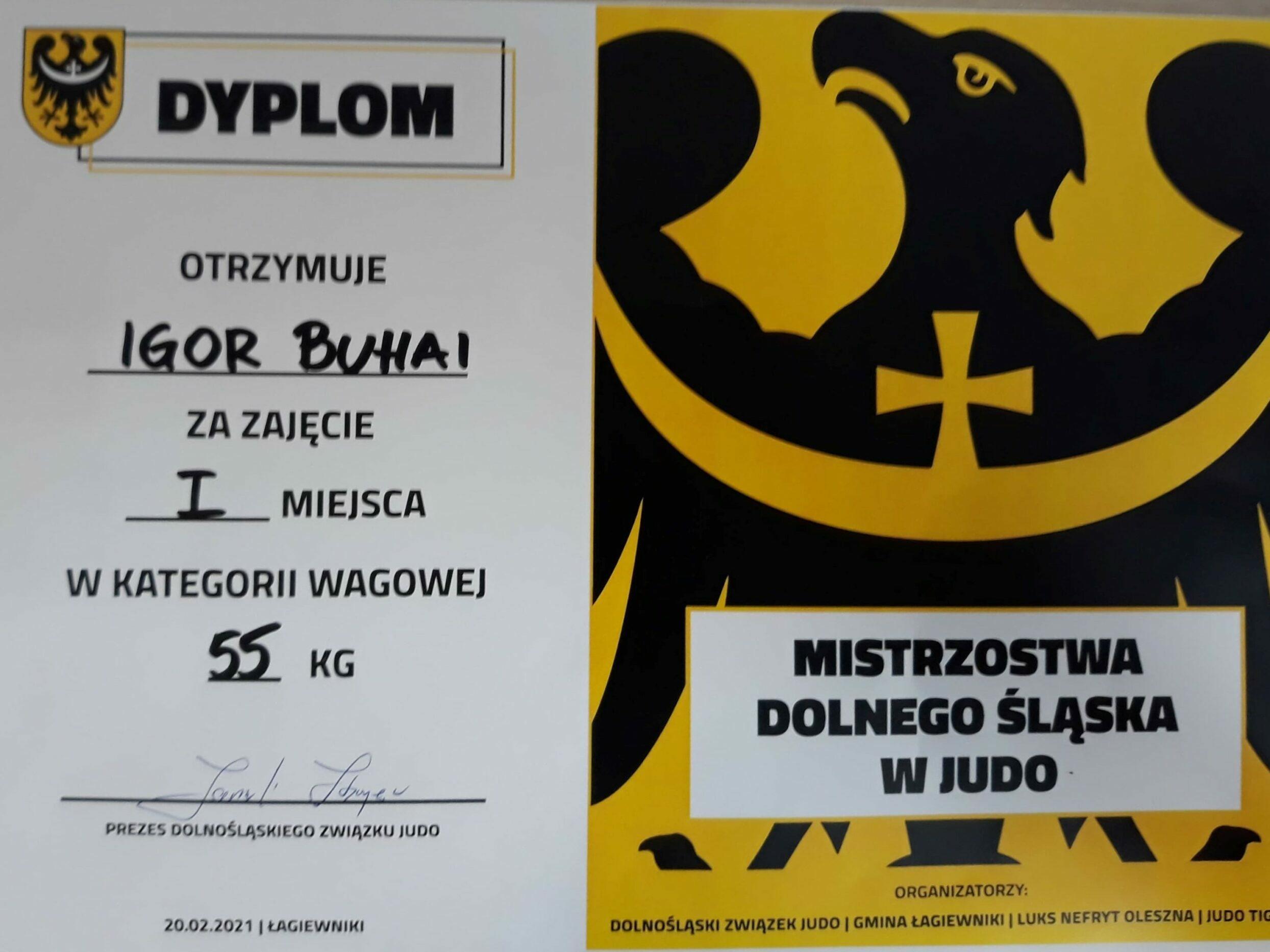 Dyplom za zawody w judo
